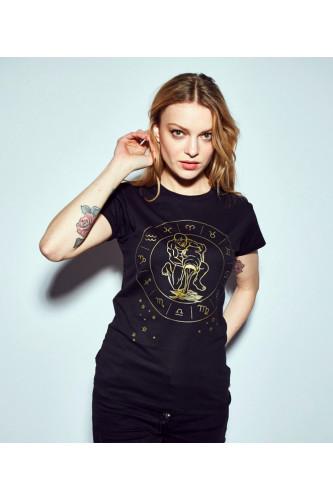 Koszulka damska znaki zodiaku czarna - Wodnik