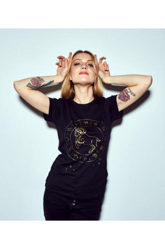 Koszulka damska znaki zodiaku czarna - Baran