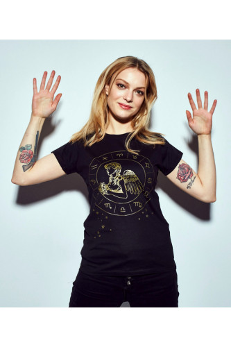 Koszulka damska znaki zodiaku czarna - Panna