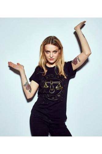 Koszulka damska znaki zodiaku czarna - Waga