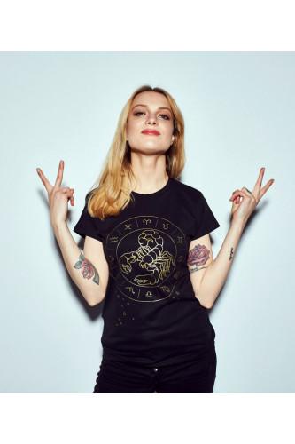 Koszulka damska znaki zodiaku czarna - Skorpion
