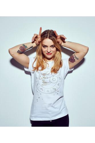 Koszulka damska znaki zodiaku biała - Koziorożec
