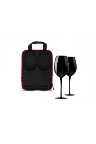 Etui z kieliszkami do wina  - black