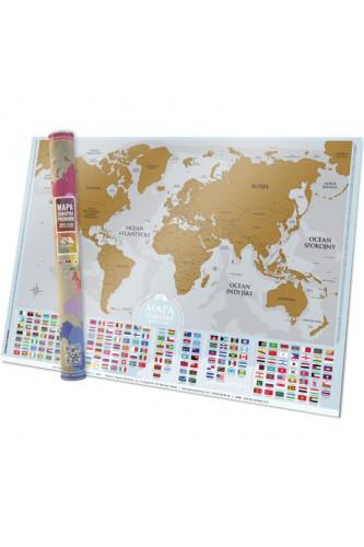 Mapa Zdrapka Premium© GOLD - flagi