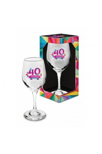 Kieliszek Do Wina Na 40 Z Życzeniami
