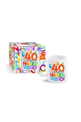 Kolorowy kubek na 40 urodziny