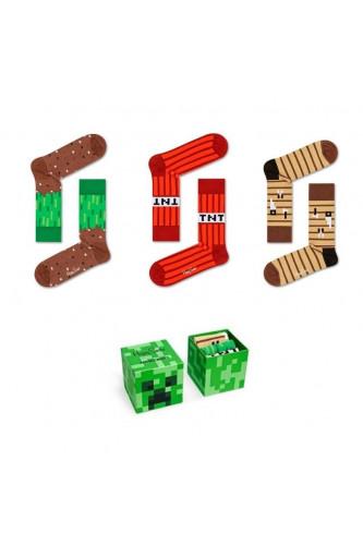 Box Skarpetki Minecraft 3 pary, Rozmiary skarpetek Minecraft: 7-9 lat