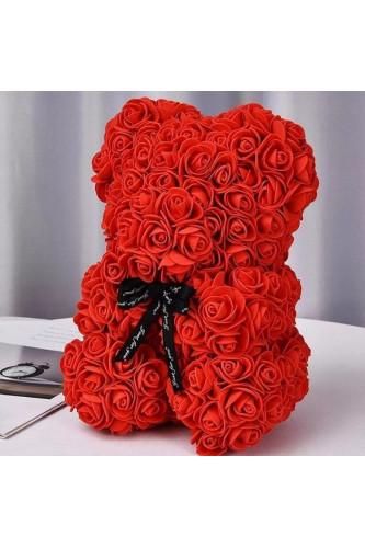 Miś z róż w pudełku z płatkami
