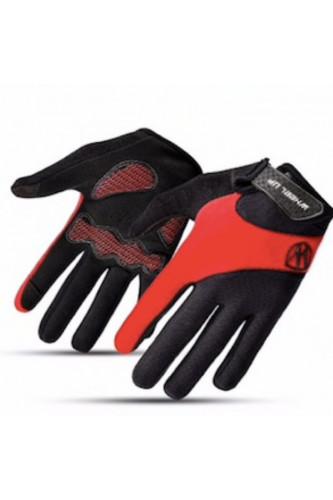 Rękawice Rowerowe Pełne - ekran dotykowy - Wheel-UP Czerwone, Rozmiar Rękawice Pełne: L