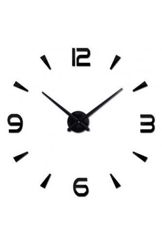 Naklejany zegar ścienny DIY 3D Czarny